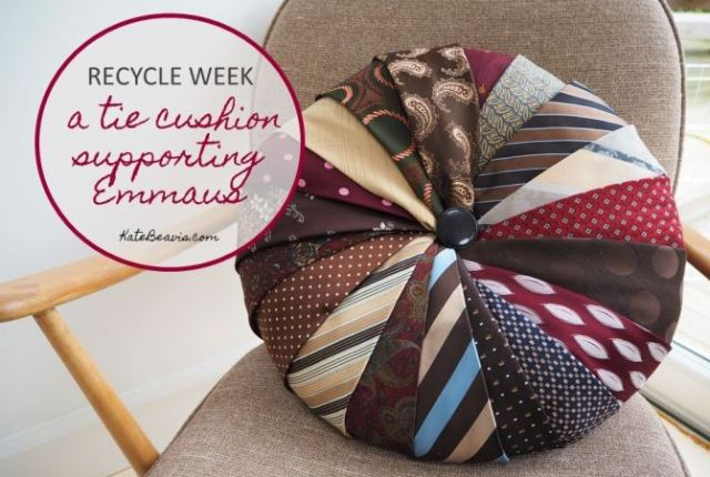 An upcycled men's tie cushion for Recycle Week