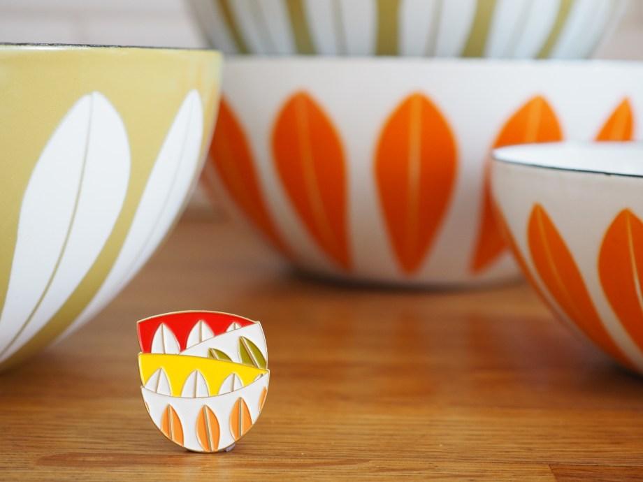 Cathrine Holm enamel bowl vintage pin