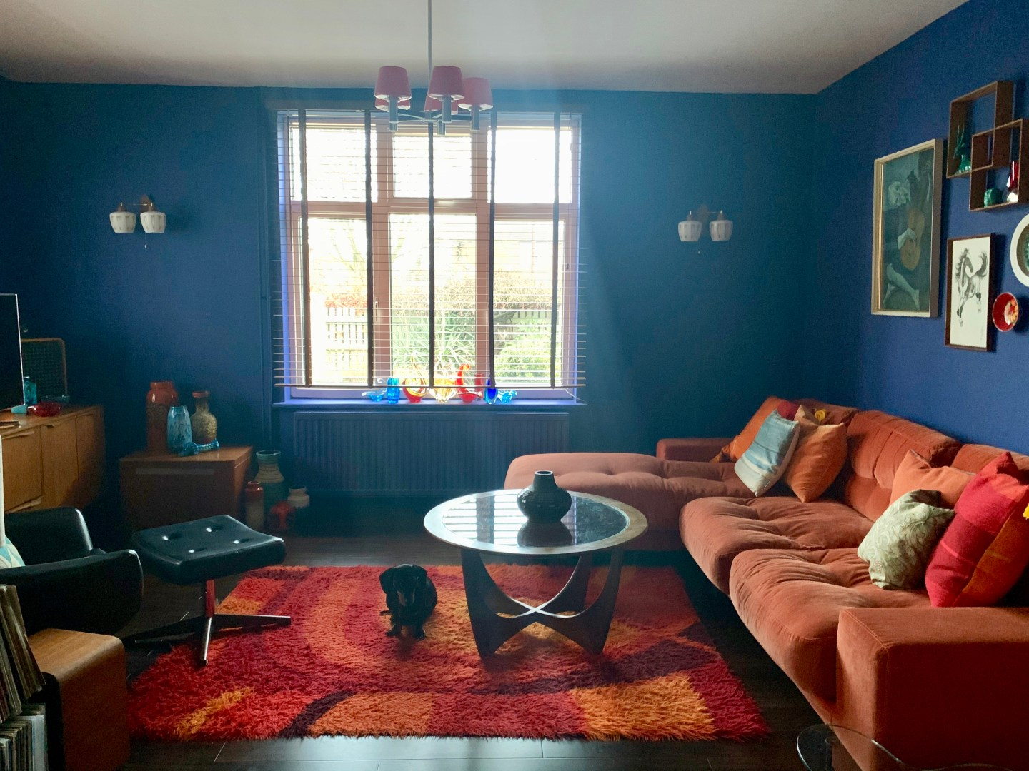 Our Mid Century Modern Lounge with Annie Sloan Paint & an Orange Sofa