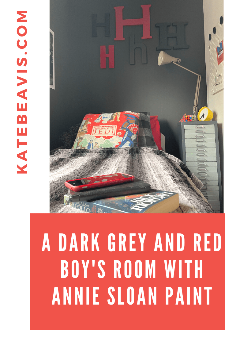 A Dark Grey And Red Boy's Room With Annie Sloan Paint