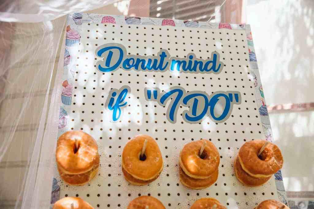 Donut wall at DIY wedding in SoCal