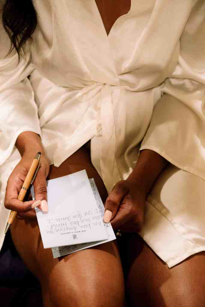 bride writing her vows