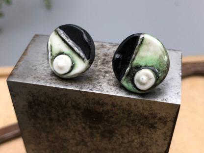 Hand Painted Grungy Textured Porcelain Studs