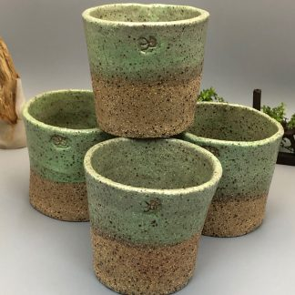 Lime Green Rustic Planter – Buff Raku