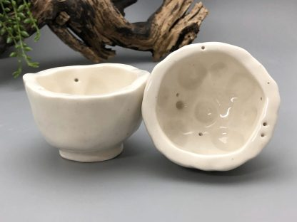 Hand Carved Lotus Root Design Treats Bowl – porcelain pinch pot