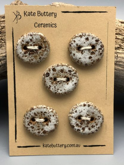 Handmade Rustic Ceramic Flat Buttons – Glazed White – Set of 5