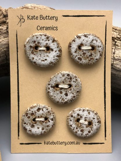 Handmade Rustic Ceramic Buttons – Glazed White – Set of 5