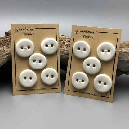 Handmade Porcelain Buttons –  Luminous White – Set of 5