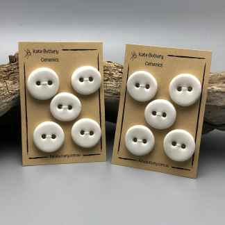 Handmade Rustic Ceramic Concave Buttons – Glazed White – Single Button
