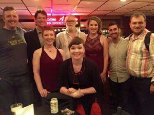 Dewey Caddell, John Blaylock, WIlliam Finn, Monet Sabel, Ross Baum, Josh Freilich, me, and Patty Nieman at Mr. Finn's Cabaret, Barrington Stage, July 2015.