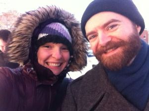 Me and my husband, Colin when it was cold.