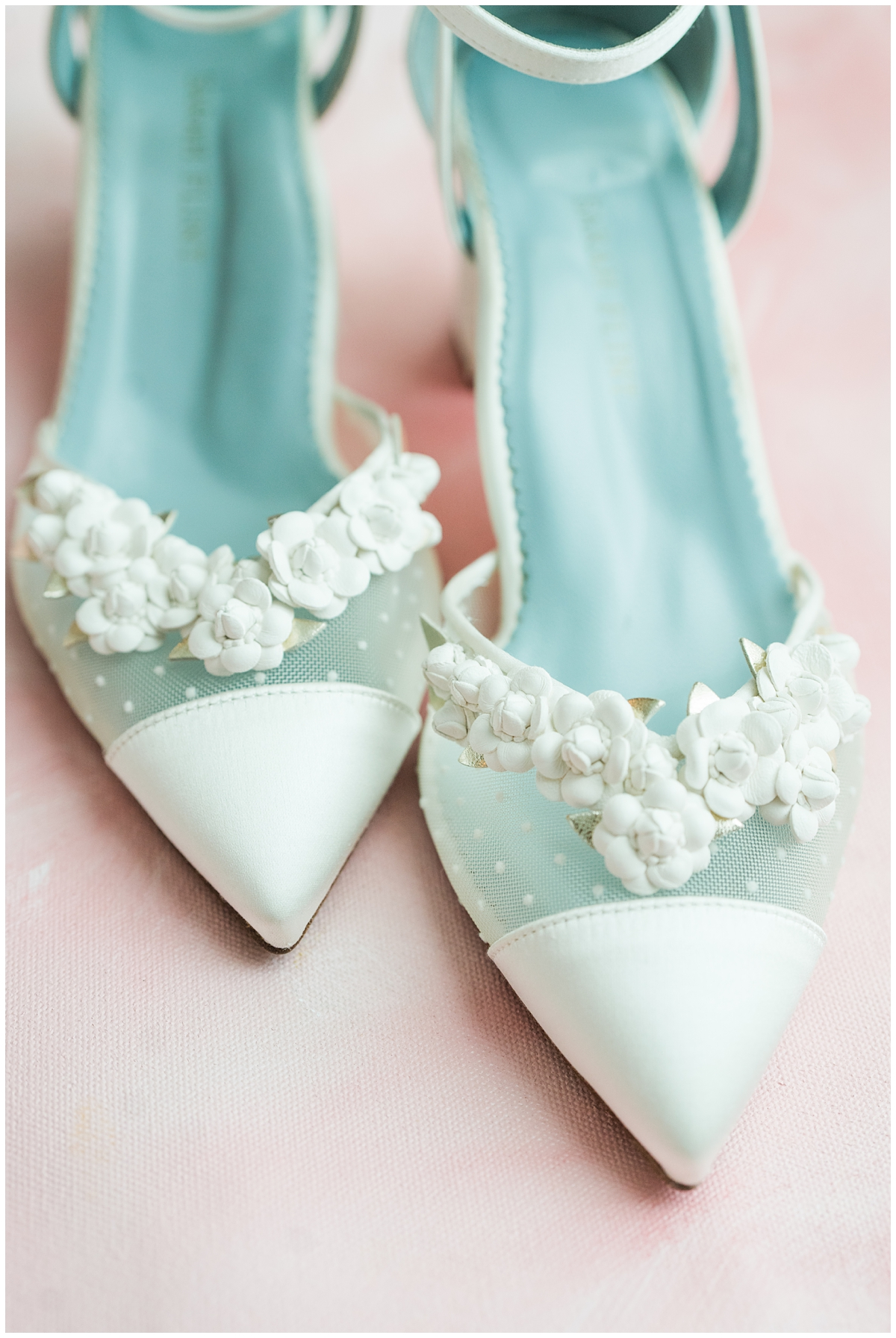 bride's teal shoes with white details for Boone Hall wedding