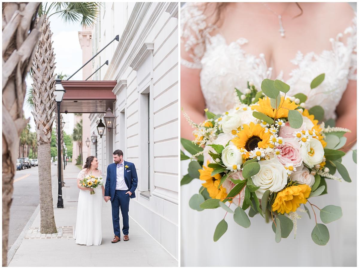 bride and groom walk in Charleston SC