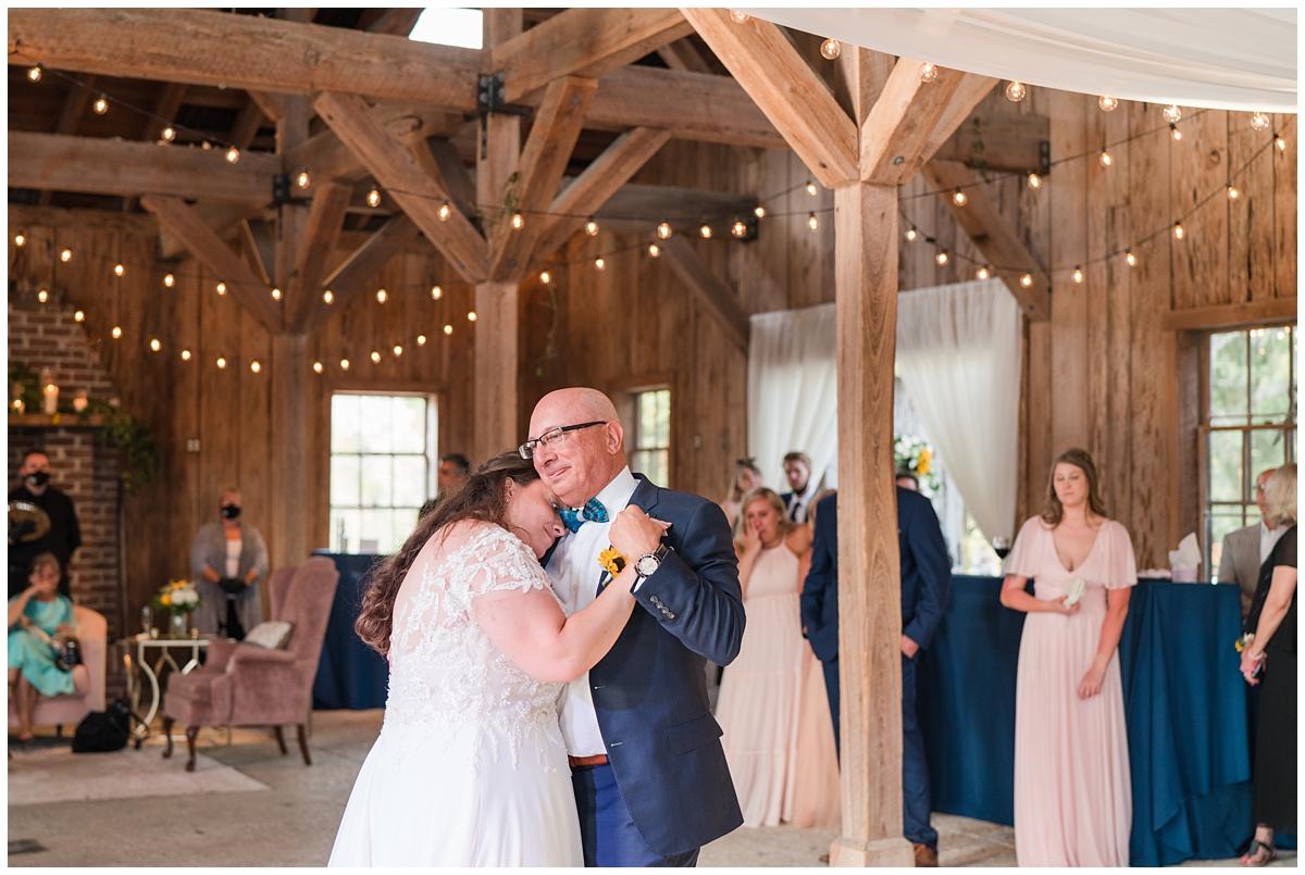 bride dances with dad during Boone Hall wedding reception