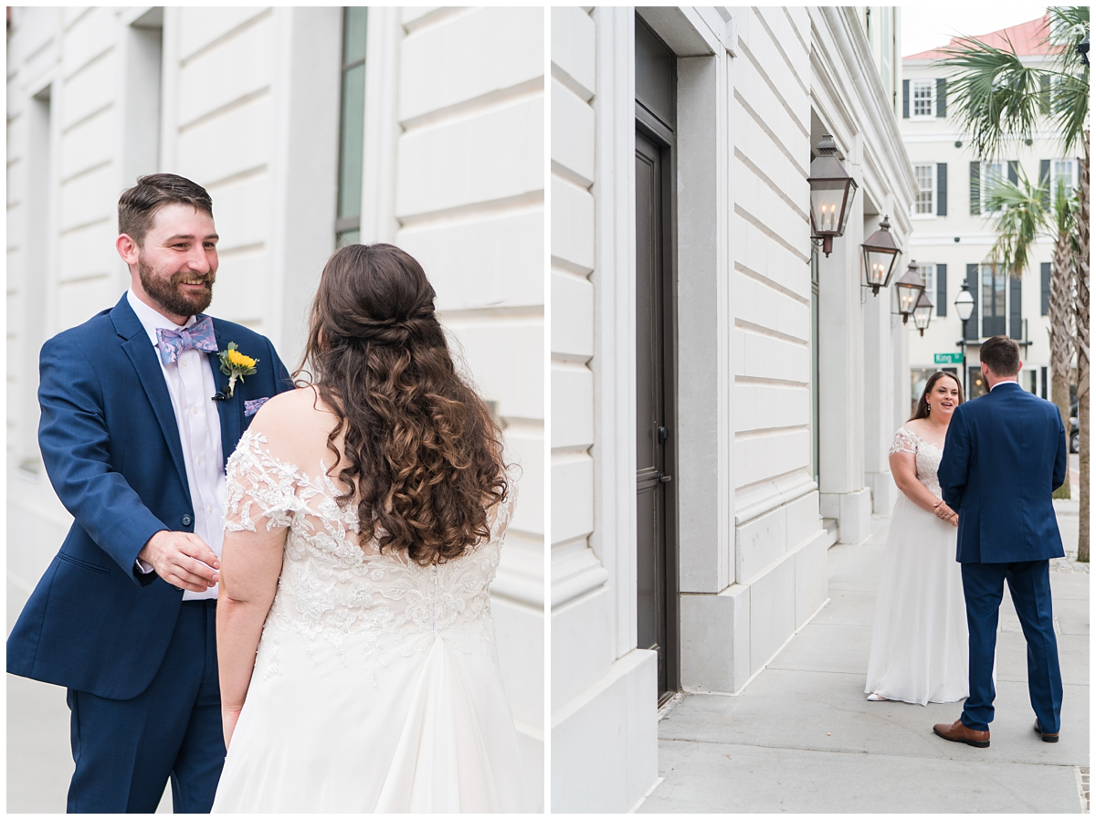 first look on Charleston street for bride and groom