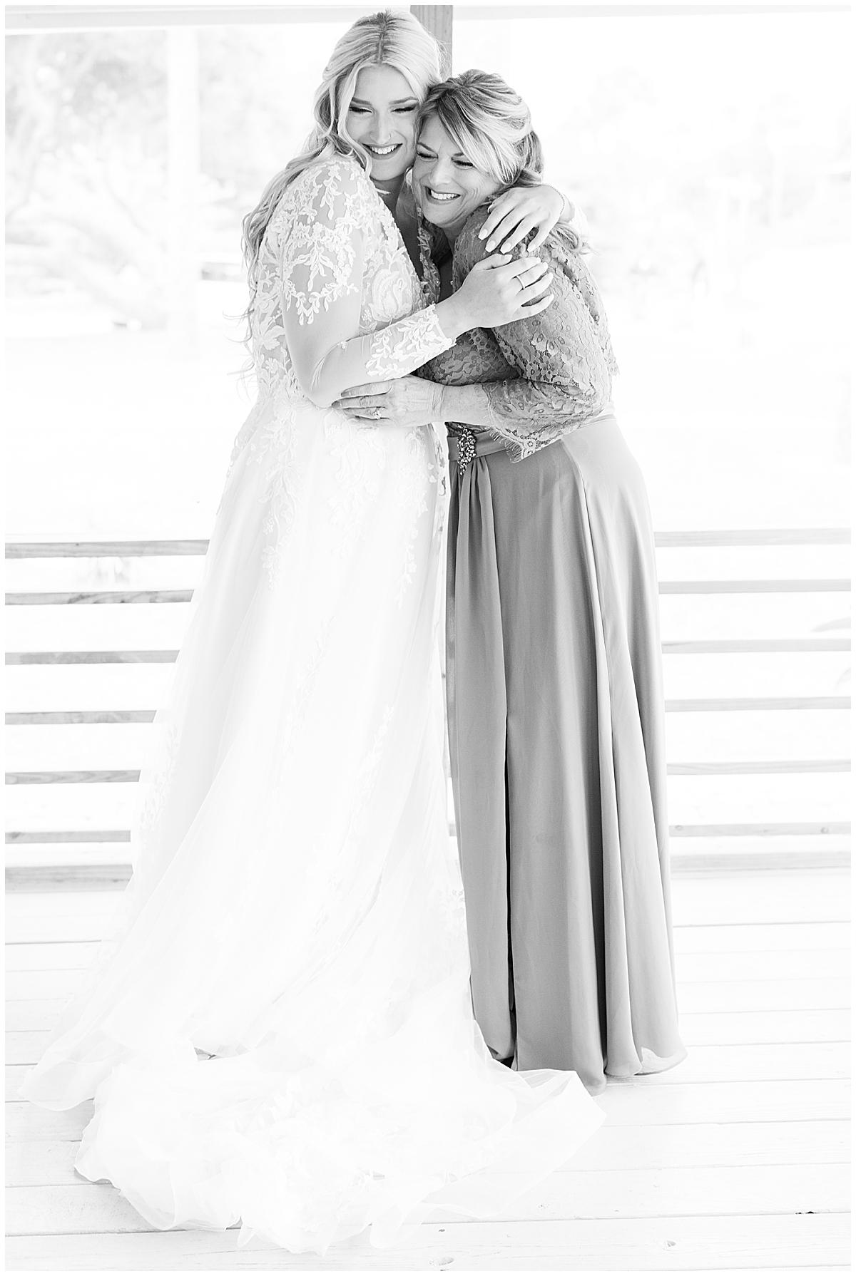 bride and mom hug during prep for Cannon Green wedding