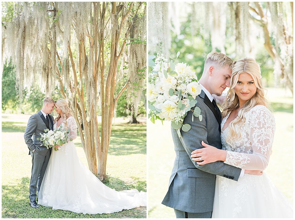 Downtown Charleston wedding portraits of bride and groom hugging