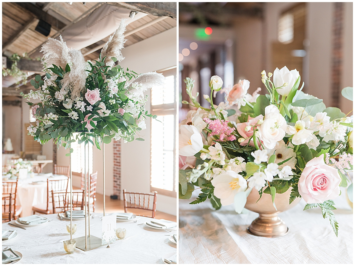 Charleston SC wedding reception with pink and white flowers