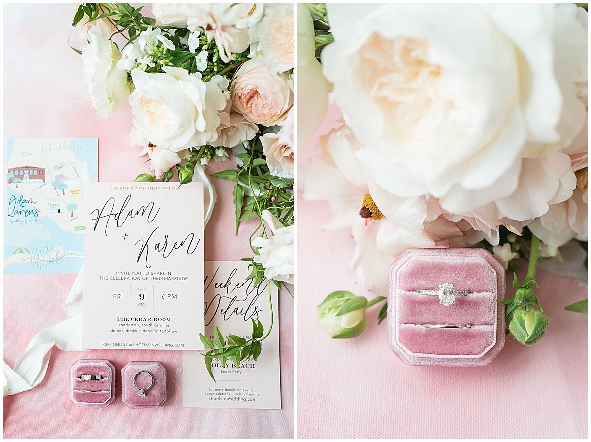 details on pink styling board for Cedar Room Charleston wedding