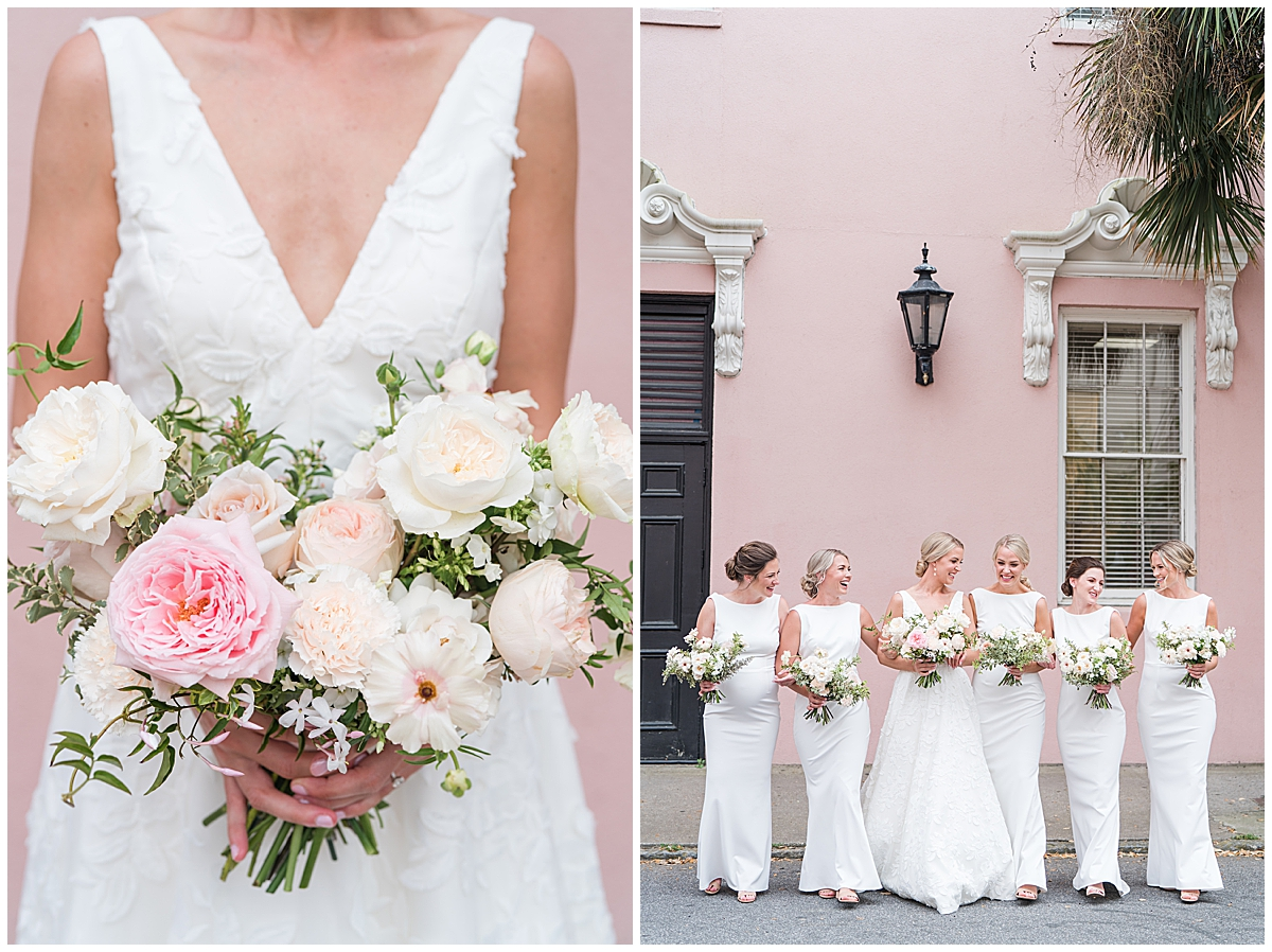 Rainbow Row wedding photos of bride and bridesmaids in white gowns