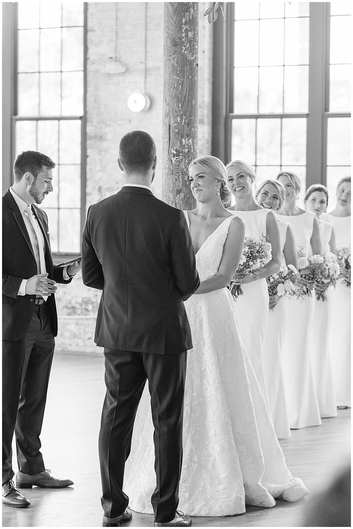 bride smiles at groom during SC wedding ceremony