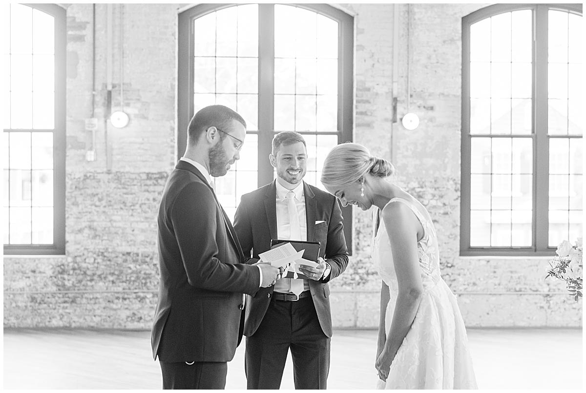 bride laughs during Cedar Room Charleston wedding ceremony