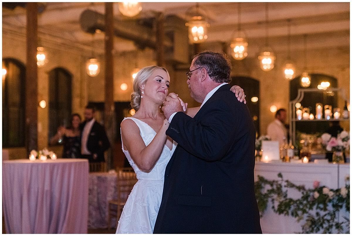 bride dances with dad during SC wedding reception