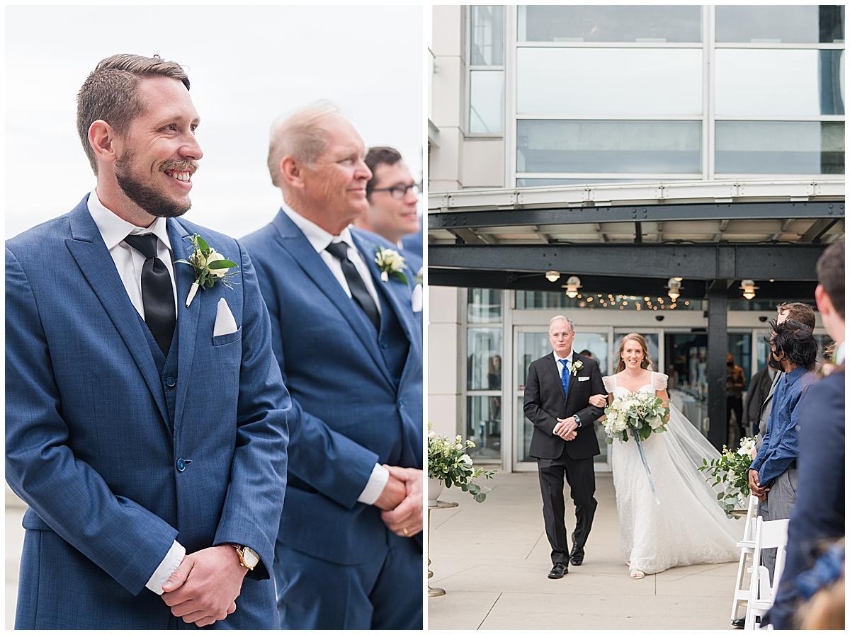 groom watches bride walk down the aisle during Charleston Aquarium wedding