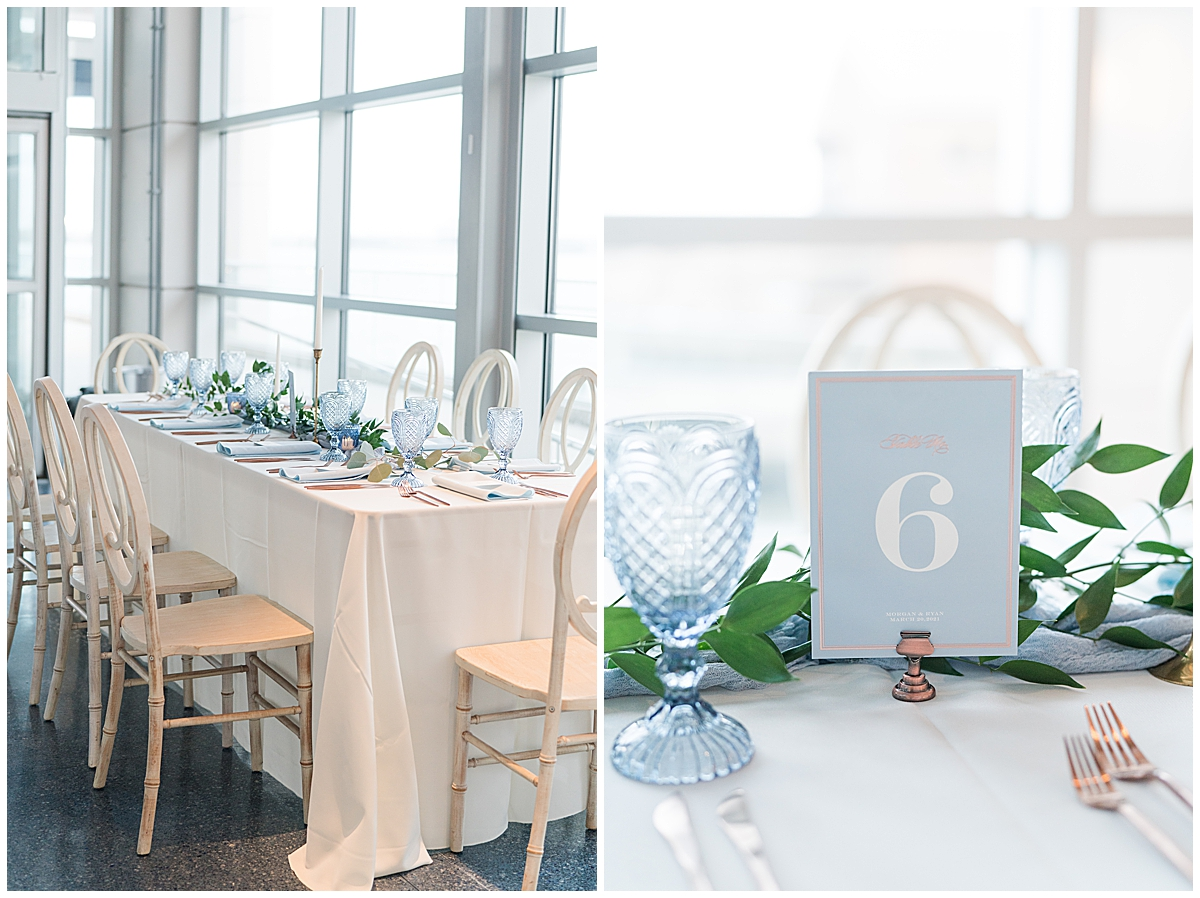 Charleston Aquarium wedding reception with pale blue and green details