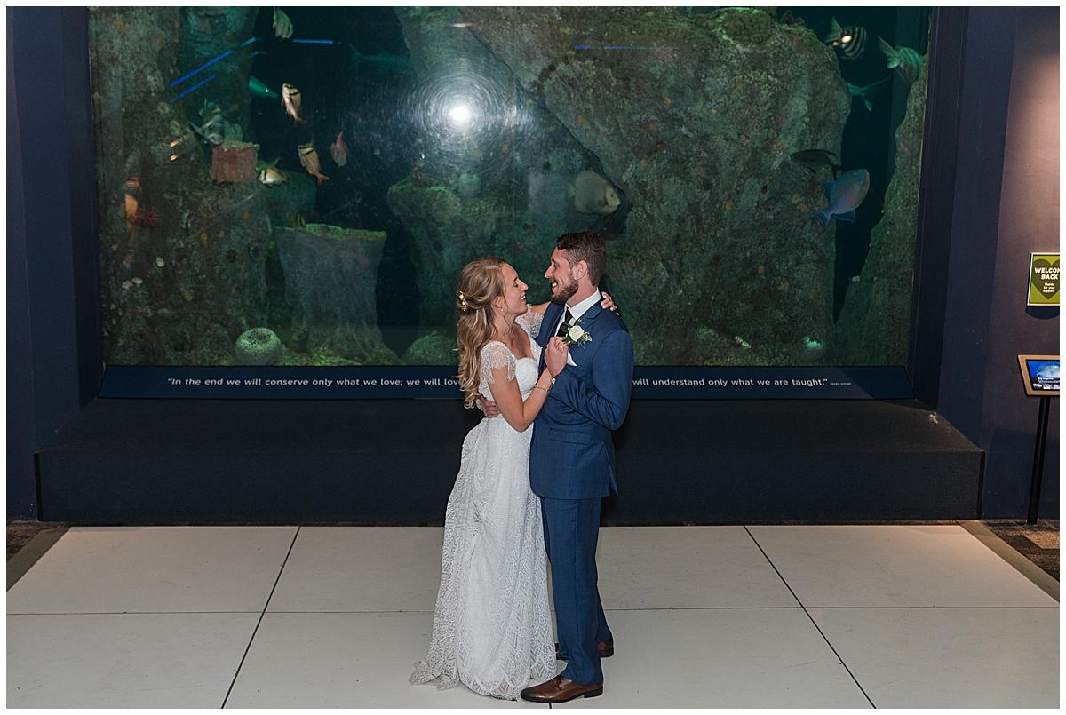 Charleston Aquarium Wedding reception with bride and groom dancing