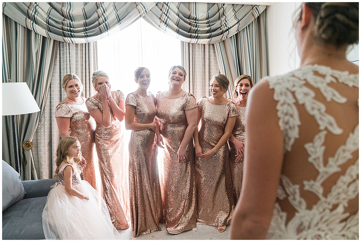 first look for bride and bridesmaids in Charleston SC