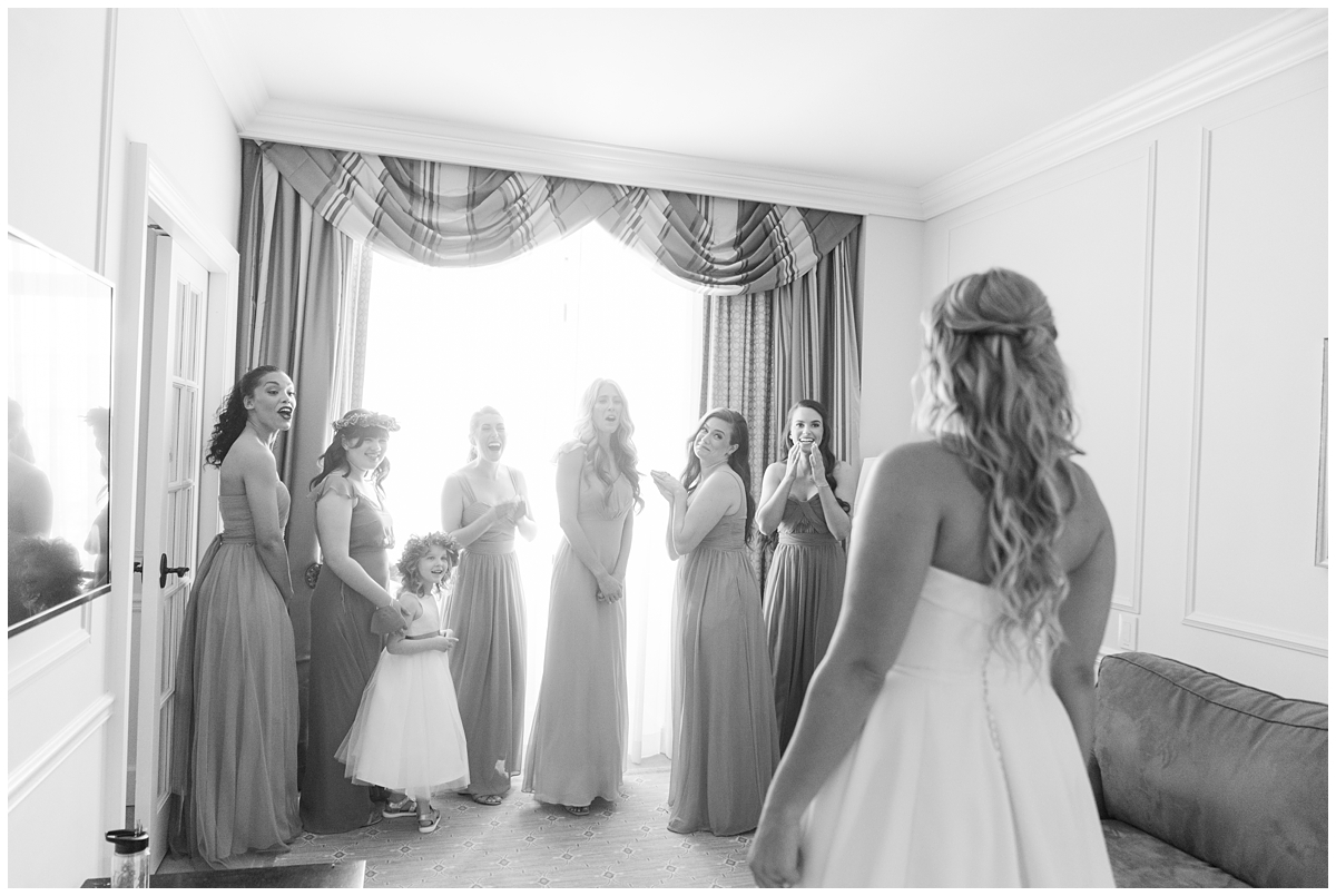 bridesmaids see bride for the first time