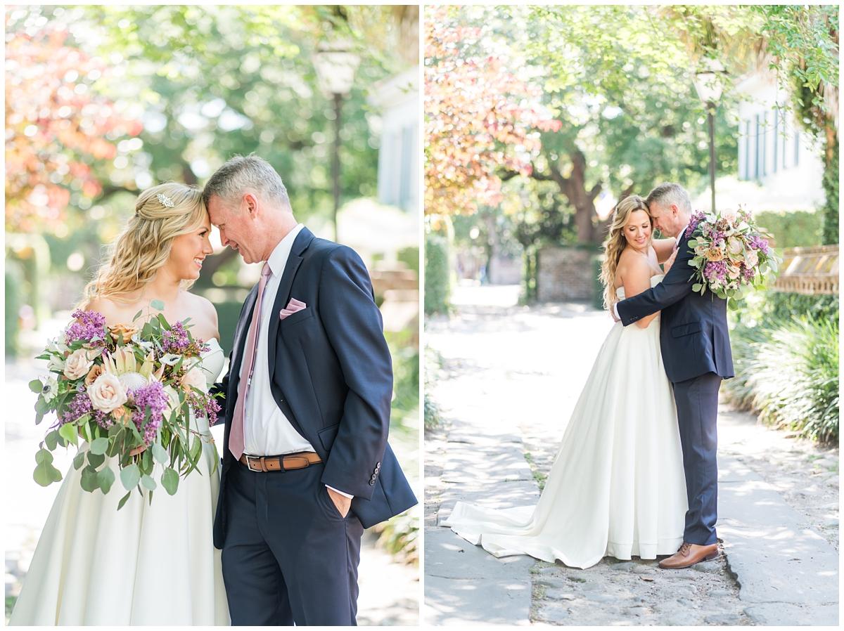 Charleston couple hugs on wedding day