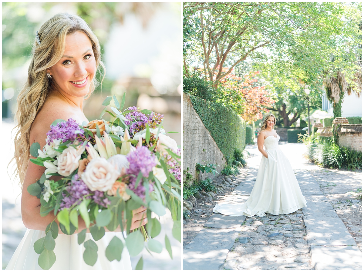 bride holds bouquet with pops of purple flowers