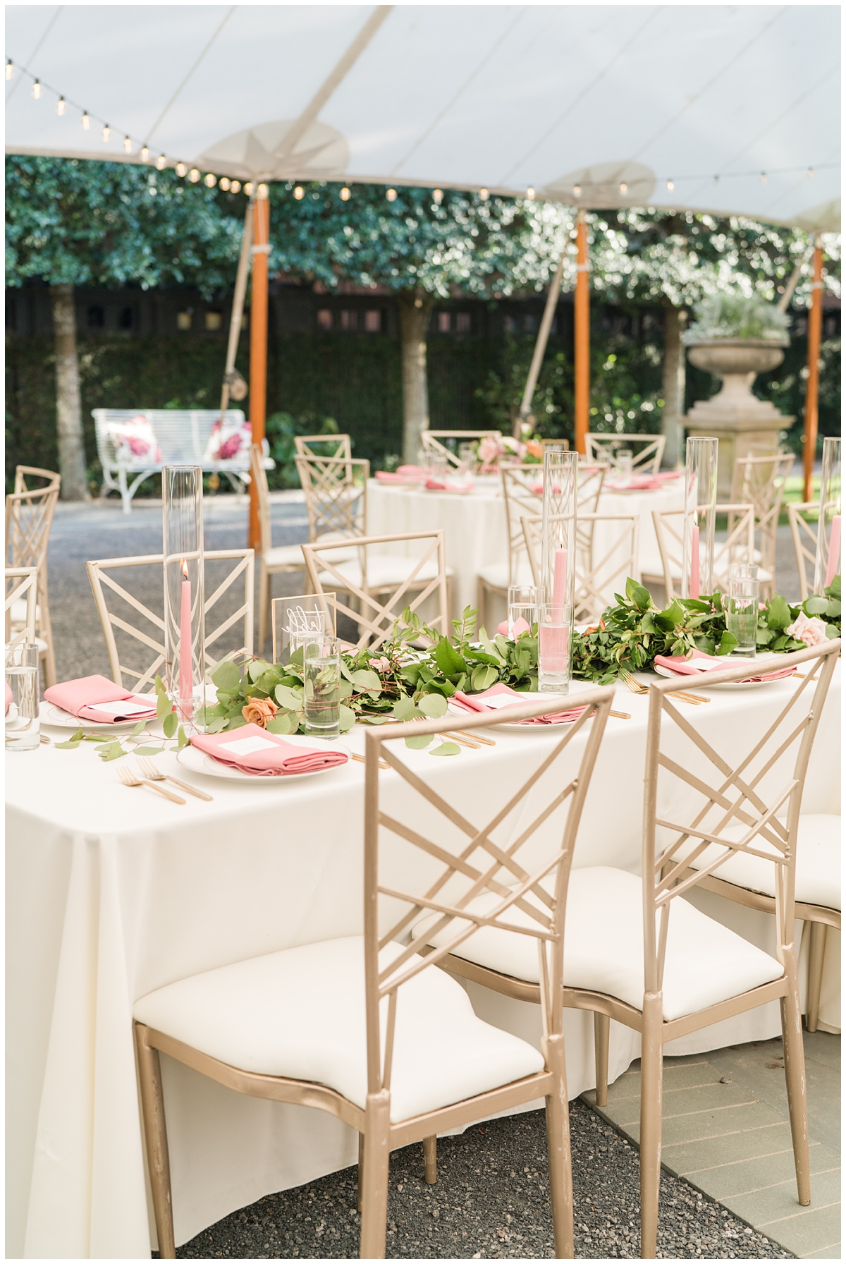 seating under tent for Gibbes Museum wedding reception