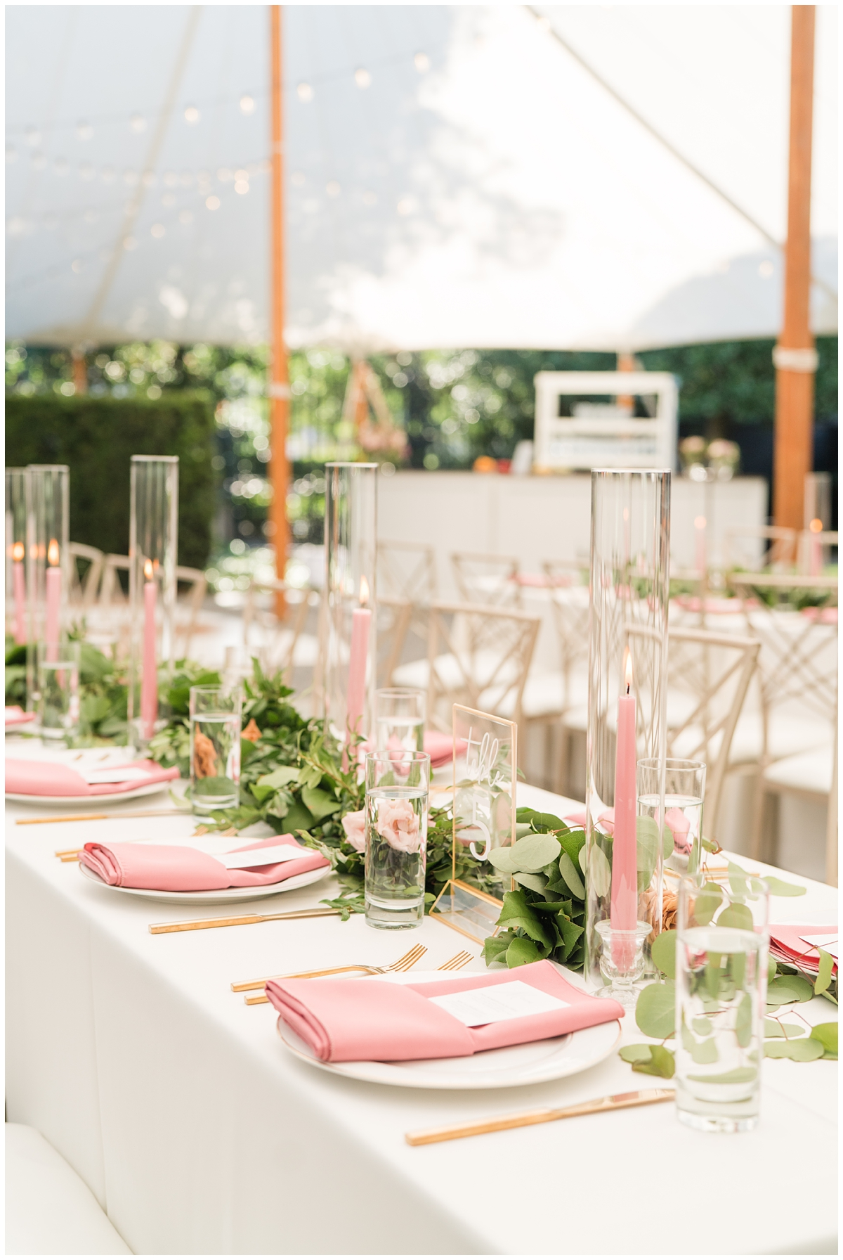Gibbes Museum wedding reception with pink and gold details