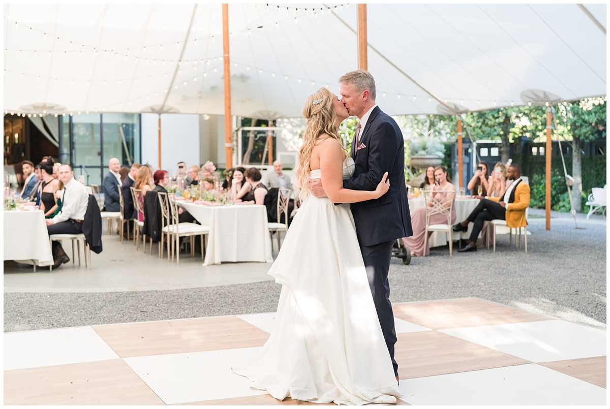 bride and groom dance during Gibbes Museum reception