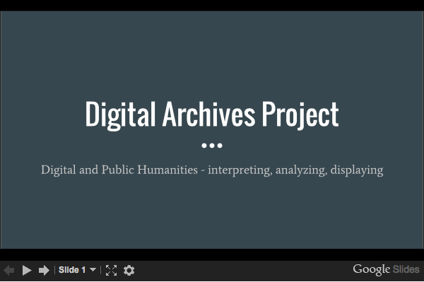 Prepping for the Digital Archives Project
