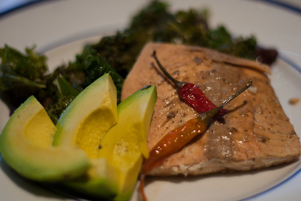 Salmon, Thai peanut satay sauce, kale, avocado, Asian Food