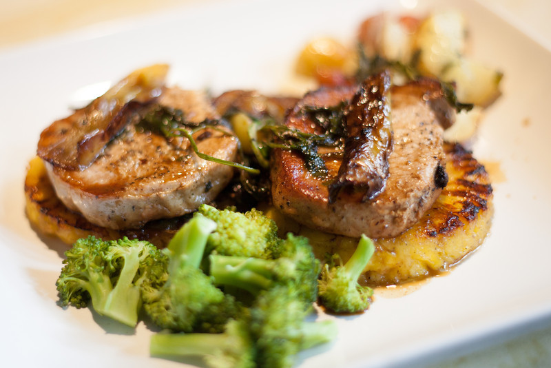 Kate Style Petite Foodie Friday Herbed Butter Pork Chops Pineapples Broccoli Sage Potatoes