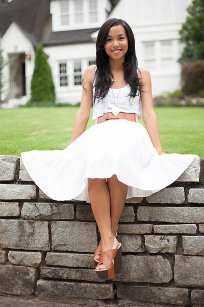 Kate Style Petite, Forever21, Vintage Skirt, Shooz on 7 wedges