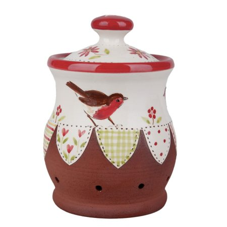 A photo of a handmade ceramic robin garlic storage jar