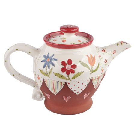 A photo of a handmade ceramic small floral teapot