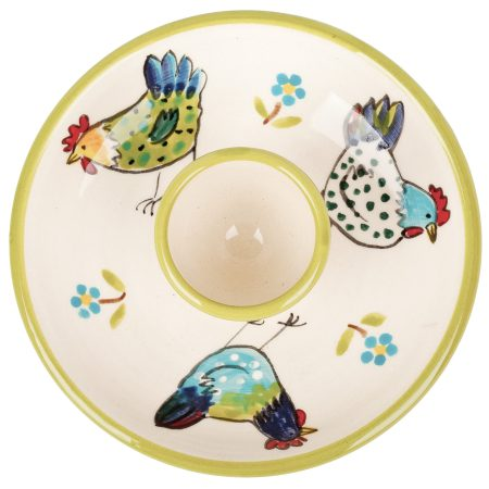 A photo of a handmade ceramic Bright coloured egg plate