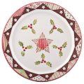 A photo of a handmade ceramic Christmas holly design plate