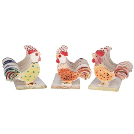 A photo of a selection of handmade ceramic chicken toast racks