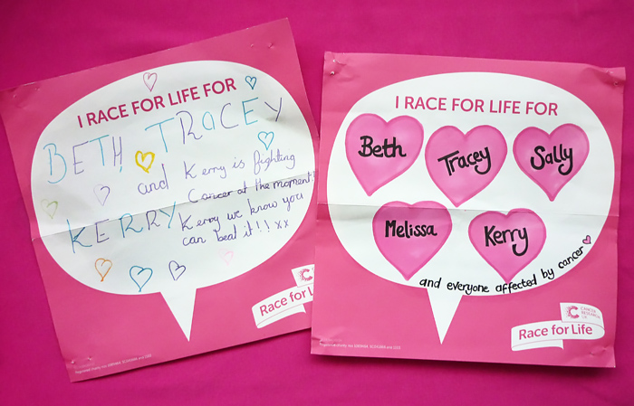Cancer Research UK's Race For Life fundraiser: completed back signs | Kate Hadfield Designs