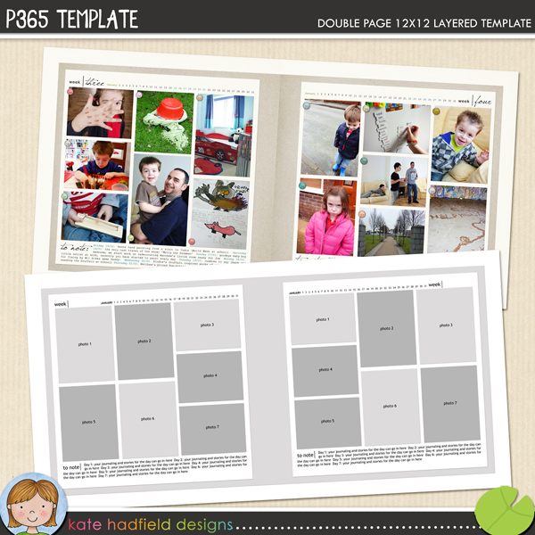 "Free scrapbook template ""P365"" from Kate Hadfield Designs"