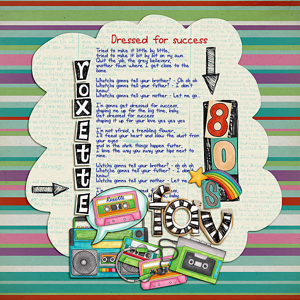 Child of the 80's   Digital scrapbook layout by Kate Hadfield Designs creative team member Vale
