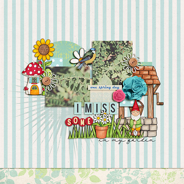 """Flowers in my Garden"" Spring scrapbook layout ideas 